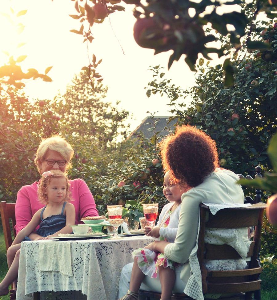 Familie beim Picknick unter Obstbäumen im Alten Land