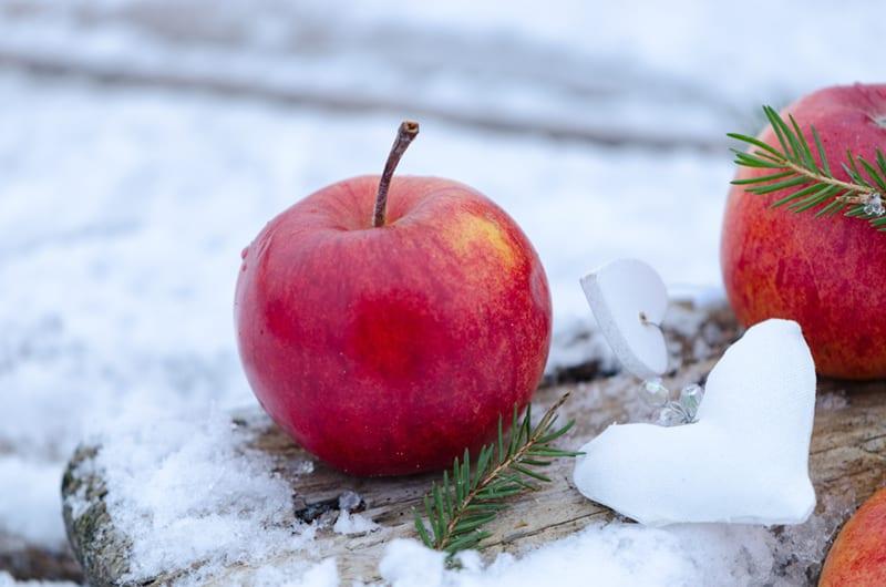 Apfel im Schnee