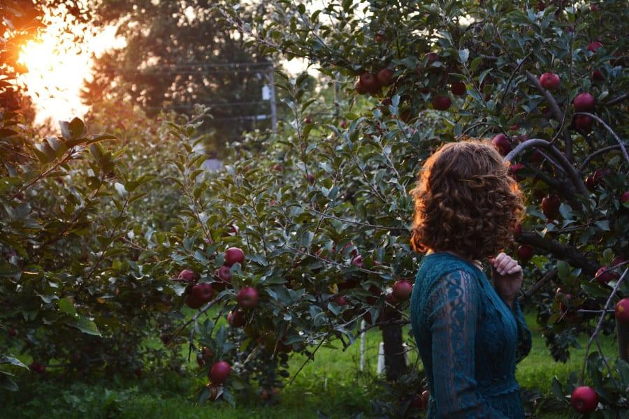 Frau zwischen Apfelbäumen im Alten Land
